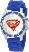 Superman Kids' SUP9012 Blue Rubber Logo Strap Watch