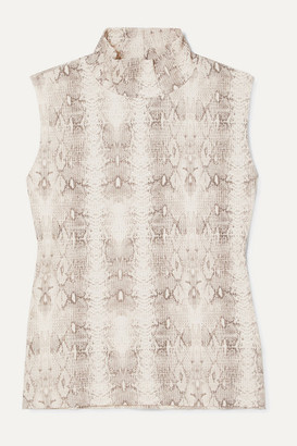 Leset Sophia Snake-print Ribbed Stretch-modal Turtleneck Top - Gray