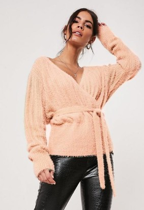 Missguided Fluffly Wrap Knitted Jumper