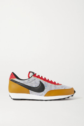 Nike Daybreak Qs Fleece, Mesh And Textured-leather Sneakers - Gray