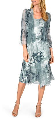 Komarov Charmeuse Dress with Chiffon Jacket