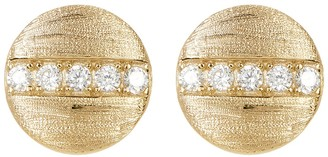 ADORNIA 14K Gold Plated Swarovski Crystal Accented Coin Stud Earrings
