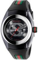 Gucci Sync Unisex Swiss Black Striped Rubber Strap Watch 36mm YA137301