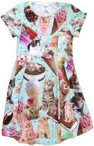 Urban Smalls Aqua Kittens & Ice Cream Sublimated Swing Dress - Toddler & Girls