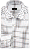 Ermenegildo Zegna Multicolor Box-Check Dress Shirt, Brown/Blue
