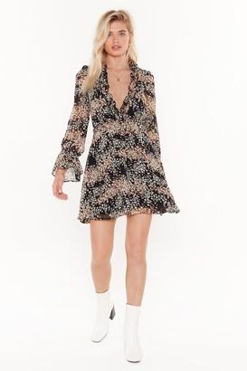 Nasty Gal Womens pretty floral frill detail mini tea dress - black - 4