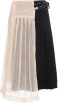 Marni Bicolor Mid Length Skirt with Sheer Layering