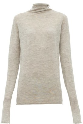 Raey Sheer Raw Edge Funnel Neck Cashmere Sweater - Womens - Light Grey