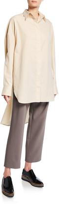 Deveaux Striped Button-Down High-Low Cotton Panel Shirt