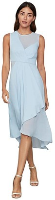BCBGMAXAZRIA Drape Front Dress (Powder Blue) Women's Clothing