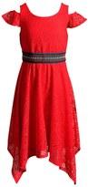 Emily West Girls 7-16 Emily West Crochet Lace Cold Shoulder Handkerchief Hem Belted Dress