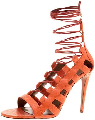 Aquazzura Orange Python Leather Amazon Lace Up Open Toe Sandals Size 40.5