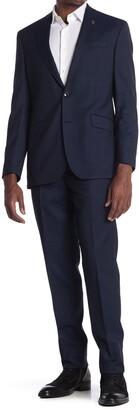 Ted Baker Jones Solid Blue Two Button Notch Lapel Trim Fit Suit