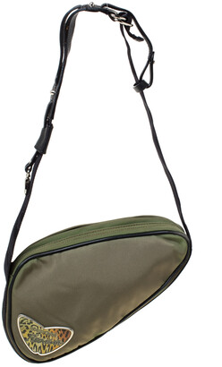 Roberto Cavalli Olive Green/Black Canvas and Leather Sling Bag