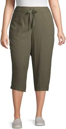Per Se Plus Linen Blend Drawstring Cropped Pants