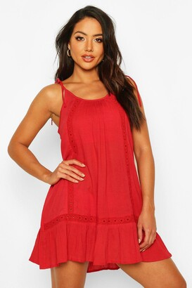 boohoo Embroidered Cheesecloth Beach Dress