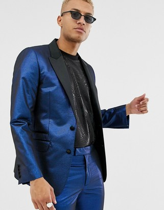 Asos Design DESIGN slim tuxedo suit jacket in blue metallic jacquard
