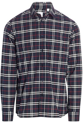 Burberry Simpson Long Sleeve Plaid Sport Shirt