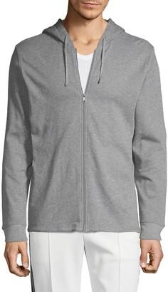 Vince Heathered Full-Zip Cotton Hoodie