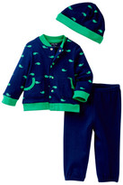 Little Me Whale Icon Cardigan Set & Hat (Baby Boys)