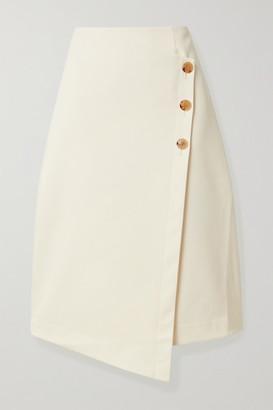 Co Asymmetric Cotton And Wool-blend Wrap Skirt - Cream