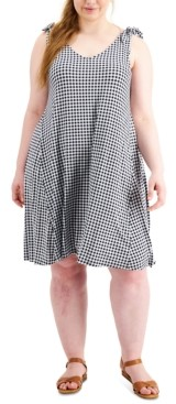 Style&Co. Style & Co Plus Size Gingham-Print Tie-Shoulder Dress, Created for Macy's