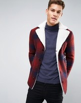 Sisley Wool Check Overcoat With Borg Lining