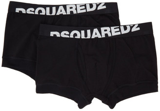 DSQUARED2 Two-Pack Black Logo Boxer Briefs