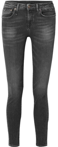 R 13 Alison Distressed Low-rise Skinny Jeans - Black