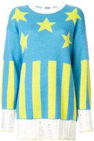 MSGM stars and stripes oversized jumper