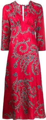 Sandro Paris Floral Flared Midi Dress