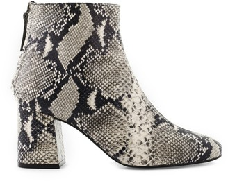 Cosmo Paris Snake Print Heeled Leather Boots