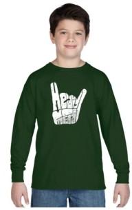LA Pop Art Boy's Word Art Long Sleeve T-Shirt - Heavy Metal