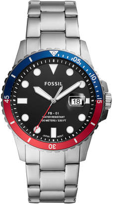 Fossil Men Blue Dive Stainless Steel Bracelet Watch 42mm