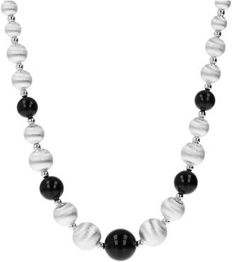 Arte D'argento Arte D' Argento Sterling Black Onyx Graduated Bead Necklace
