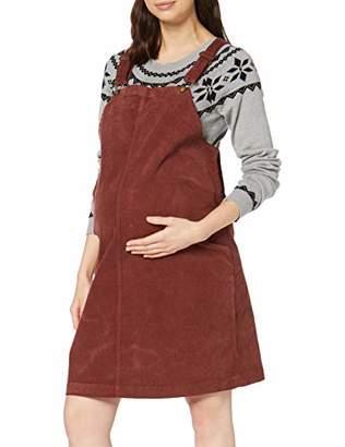 Mama Licious Mamalicious Women's Mlnassau Corduroy Pinafore Abk Dress, Red Fired Brick
