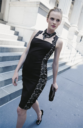 Aidan Mattox Lace Panel Woven Sheath Dress