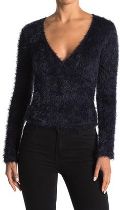 Lush Fuzzy Knit Surplice Crop Sweater