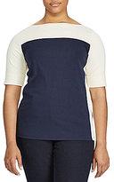 Lauren Ralph Lauren Plus Color-Blocked Cotton Top