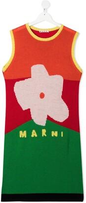 Marni TEEN sleeveless intarsia-knit dress