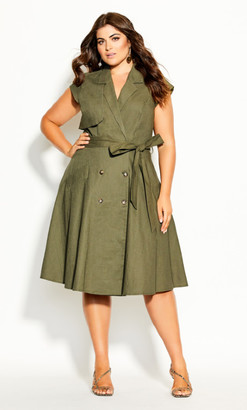 City Chic Essential Dress - thyme