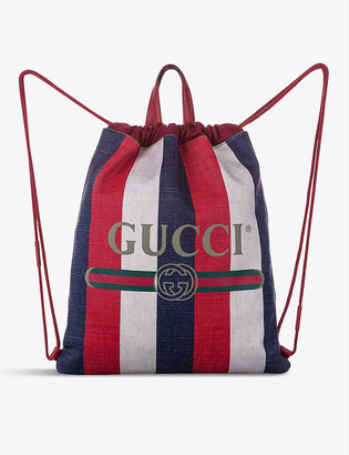 Resellfridges Pre-loved Gucci Sylvie stripe-print canvas backpack