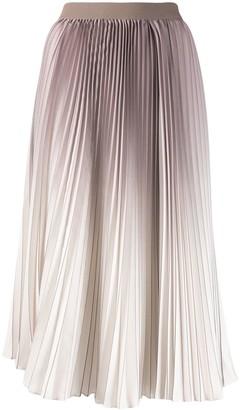Agnona Pleated Ombre Print Skirt