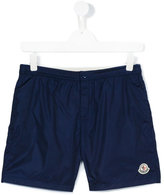 Moncler embroidered logo swim shorts - kids - Polyamide-8 - 14 yrs