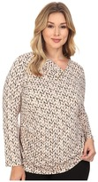 Calvin Klein Plus Plus Size Printed V-Neck w/ Bar Hardware Top