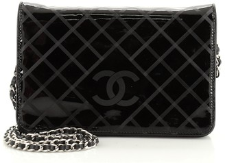 Chanel Diamond CC Wallet on Chain Embossed Striated Patent