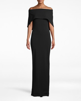 Nicole Miller Structured Heavy Jersey Cape Gown