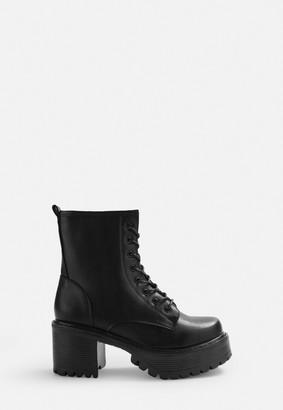 Missguided Black Faux Leather Split Sole Boots