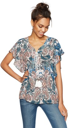 Ella Moon Women's Everleigh Short Flutter Sleeve Lace up Top