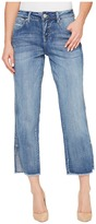Jag Jeans Quincy Straight Ankle Crosshatch Denim in Mid Vintage with Raw Hem Women's Clothing